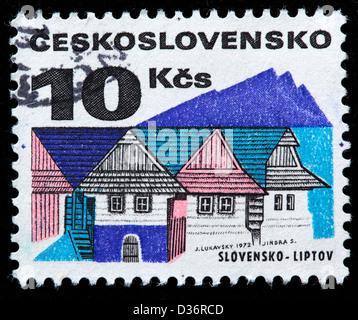 Old houses, Liptov, postage stamp, Czechoslovakia, 1972 - Stock Photo
