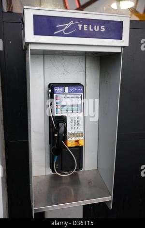telus public payphone Vancouver BC Canada - Stock Photo