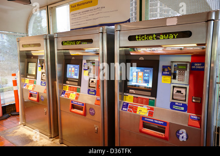 automatic skytrain ticket machines at station Vancouver BC Canada - Stock Photo