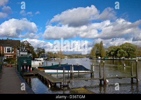 Henley-on-Thames riverside view in winter sunshine Oxfordshire England UK GB - Stock Photo