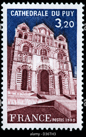 Le Puy Cathedral, Le Puy-en-Velay, Auvergne, postage stamp, France, 1980 - Stock Photo