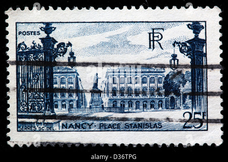 Place Stanislas, Nancy, Meurthe-et-Moselle department, Lorraine, postage stamp, France, 1946 - Stock Photo