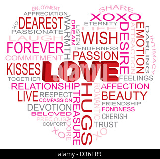Valentines Day Love Word Cloud in Heart Shape Outline Isolated on White Background Illustration - Stock Photo