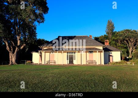 The historic treaty house at the Waitangi Treaty Grounds. - Stock Photo