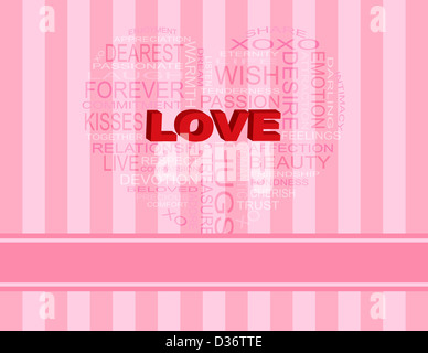 Love Word Cloud in Heart Shape Outline on Pink Stripes Background Illustration - Stock Photo