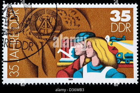 Agriculture, 35th Anniversary of DDR, postage stamp, Germany, 1984 - Stock Photo
