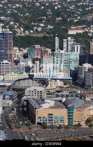 View of Wellington city and Te Papa Museum of New Zealand from Mount Victoria - Stock Photo