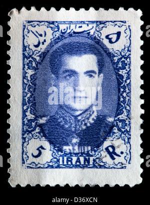 Mohammad Reza Shah Pahlavi, postage stamp, Iran, 1956 - Stock Photo