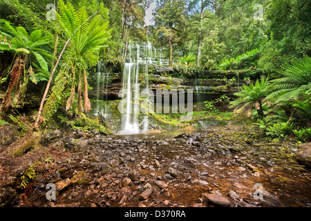 The beautiful and peaceful Russell Falls in Tasmania's Mt Field National Park. - Stock Photo