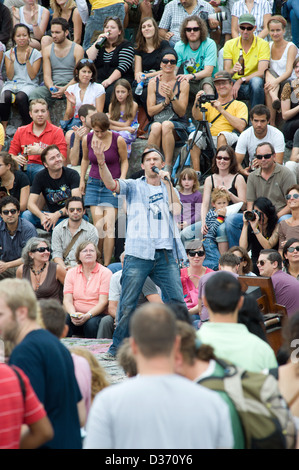 Berlin, Germany, with its Joe Hatchiban Bearpit Karaoke Show in Wall Park - Stock Photo