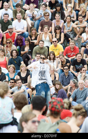 Berlin, Germany, at the karaoke singer Bearpit show at Wall Park - Stock Photo