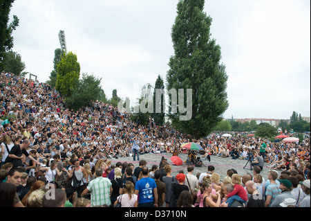Berlin, Germany, in the audience at the Bearpit Karaoke Show Mauerpark - Stock Photo