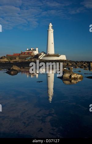 St Marys lighthouse, Whitley Bay, North Tyneside, Tyne and Wear, Northumberland, England, UK, GB - Stock Photo