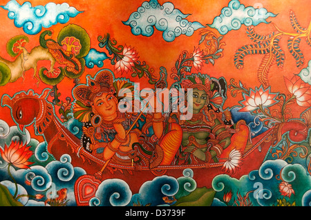 Mural Painting depicting Indian Gods - Stock Photo