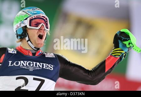 Schladming, Austria, 11th February 2013. Ted Ligety of US reacts during the second run of the men's super combined - Stock Photo