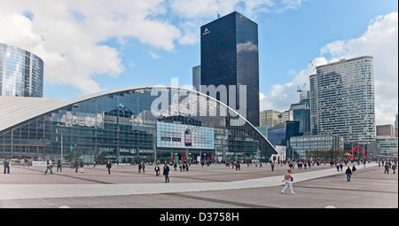 Editorial photo of workers in and visitors to La Defense, the business area in west-central Paris. - Stock Photo