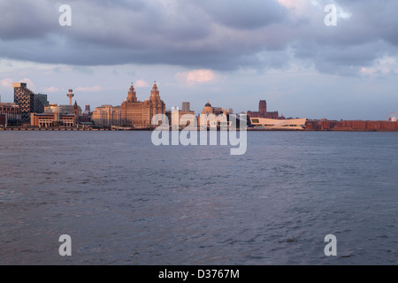 Liverpool's Waterfront with a warm evening glow. - Stock Photo