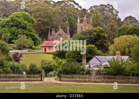 Building ruins at Port Arthur, Tasmania which was once a penal settlement in the colony's convict beginnings. Horizontal - Stock Photo