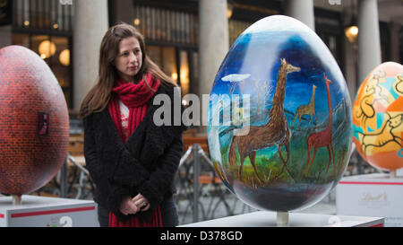London, UK. 12th February 2013.  Over 100 giant Easter eggs designed by artists and designers were unveiled today - Stock Photo