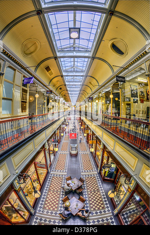 A fisheye view of the ornate Adelaide Arcade shopping mall in Australia - Stock Photo