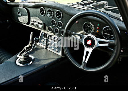 Drivers seat and gearbox in the Shelby Daytona Cobra Coupe racing car, Winchester, UK, 16 08 2010 - Stock Photo