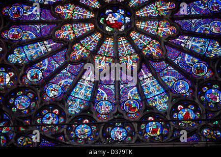 Medieval Rayonnant Gothic Stained Glass Rose Window Cathedral Basilica Of Saint Denis Basilique
