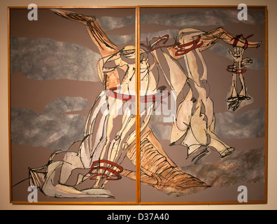 'Diptych to Francisco de Goya 'About the Disasters of War' 1981 by Oliverio Hinojosa at Museum of Modern Art in - Stock Photo