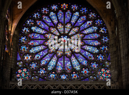 Medieval Rayonnant Gothic stained glass Rose window. Cathedral ...