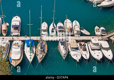 Luxury boats in the harbour of Fontvieille - Monaco - Stock Photo
