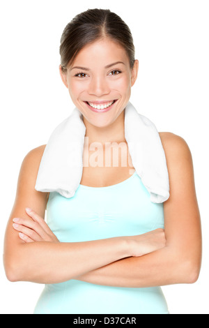 Portrait of fresh beautiful multi-racial Caucasian Asian fit woman with towel around neck isolated on white background - Stock Photo