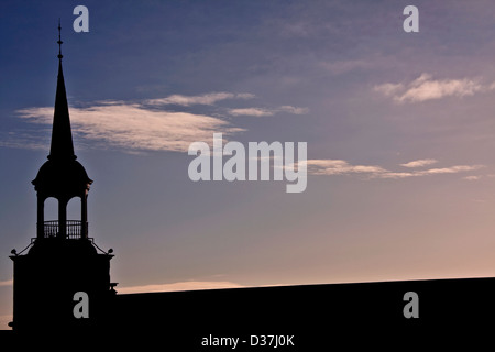 Winter`s morning sunlight Silhouetting the 1800`s Weavers Mill in Dundee,UK - Stock Photo