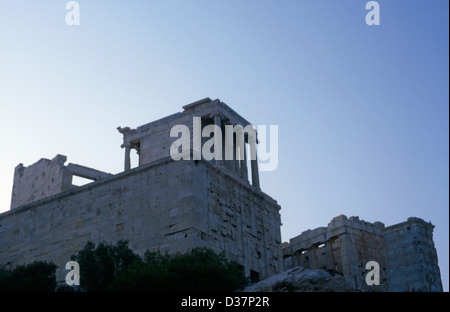 Akropolis in morninglight, temple of Nike, Athen, Athens, Greece, Stock Photo