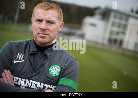 Neil Lennon, Manager of Celtic FC, photographed at the Celtic training grounds, in Lennonxtown, near Glasgow, Scotland. - Stock Photo