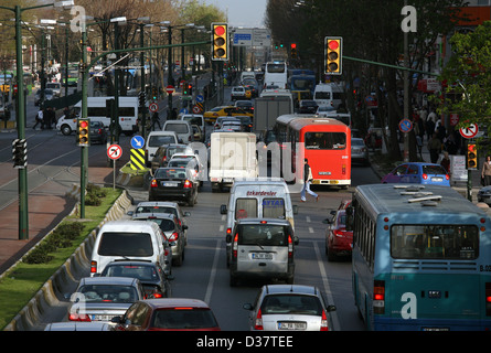 Istanbul, Turkey, rush hour traffic in Bayrampasa - Stock Photo