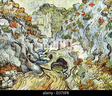 Vincent van Gogh, The ravine of the Peyroulets. 1889. Post-Impressionism. Oil on canvas. Rijksmuseum Kröller-Müller, - Stock Photo