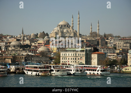Istanbul, Turkey, tour boats at the dock on the Golden Horn - Stock Photo