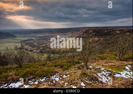 Hole of Horcum in winter on a cold frosty morning, North York Moors National Park, Goathland, Yorkshire, UK. - Stock Photo