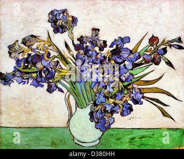 Vincent van Gogh, Vase with Irises. 1890. Post-Impressionism. Oil on canvas. Metropolitan Museum of Art, New York - Stock Photo