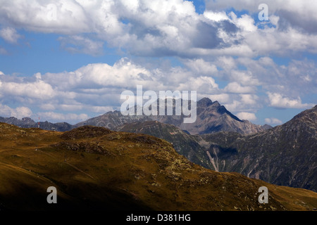 View from Parsenn toward Gotschnagret with The Alpeltispitz and Schildflue from The Panoramaweg Davos Klosters Switzerland - Stock Photo