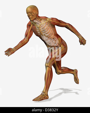 Digitally generated image of running male likeness - Stock Photo