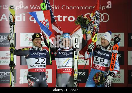 Schladming, Austria. 11th February 2013. (L-R) Ivica Kostelic (CRO), Ted Ligety (USA), Romed Baumann (AUT), FEBRUARY - Stock Photo