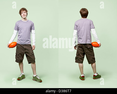 Front and rear view of casual young male's fashion in catalog style. - Stock Photo