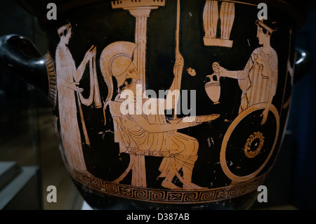 Bell Krater (Bowl for Mixing Wine and Water), c. 450 B.C. Terracotta, red-figure technique. Greek - Stock Photo