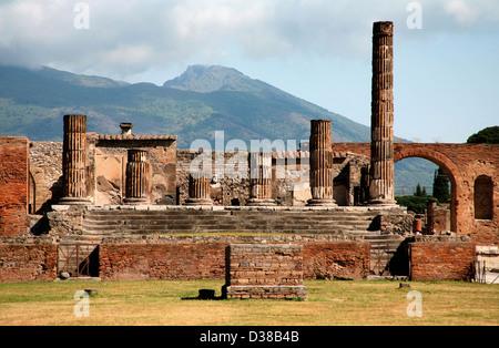 Sunny ancient ruins, Pompeii, Italy - Stock Photo