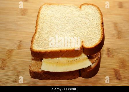 Tasty Peanutbutter and Banana Sanwich - Stock Photo
