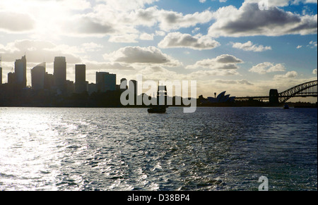 Sydney skyline as seen from the Sydney ferries - Stock Photo
