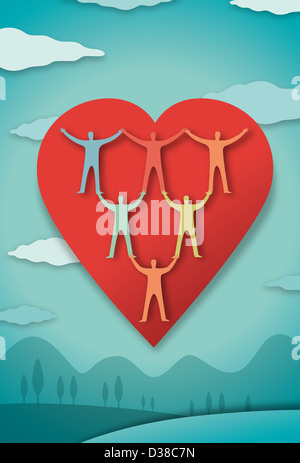 Conceptual image of human representations in heart representing health living - Stock Photo