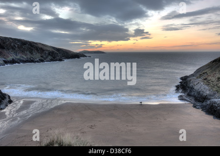 Couple at sunset on Mwnt beach with Cardigan Island and Bay in background - Stock Photo