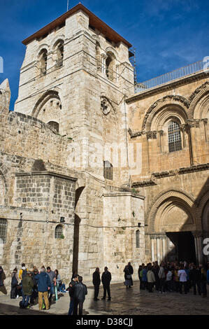Jerusalem, Israel. 13th February 2013. Entrance and exterior of the Church of The Holy Sepulchre. Jerusalem, Israel. - Stock Photo
