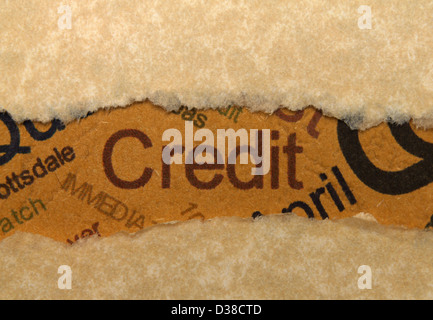 Credit text on grunge paper - Stock Photo